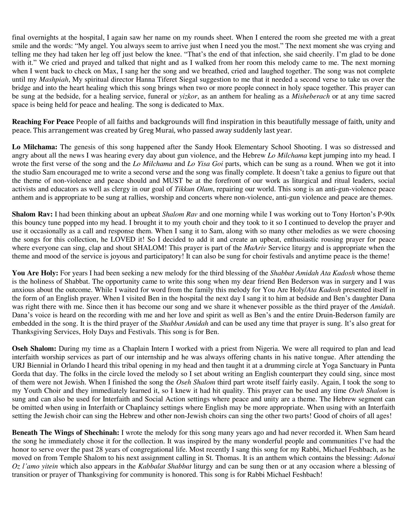 Bridge To Peace CD Release Party Program - Insert page 2