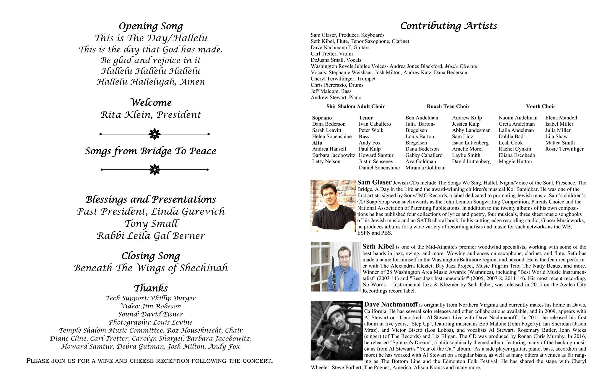 Bridge To Peace CD Release Party Program - inside information